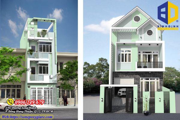 Cách phối màu sơn mặt tiền nhà