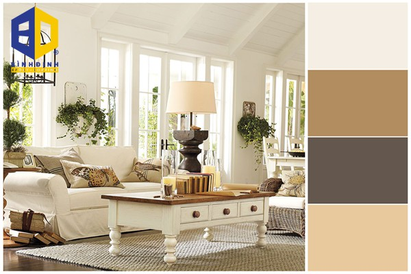 phối màu sơn phòng khách theo phong cách