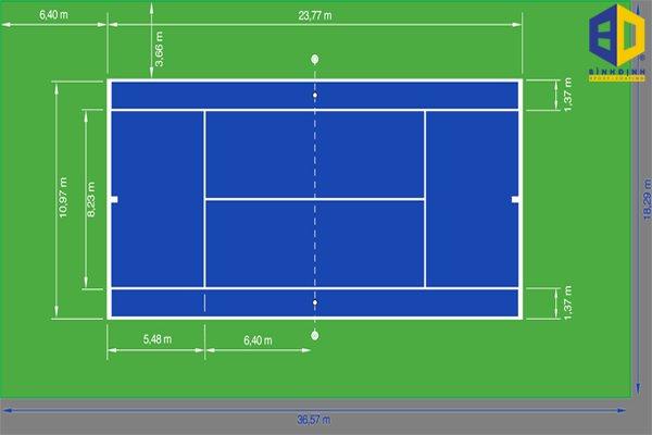 Kích thước được lựa chọn sàn tennis